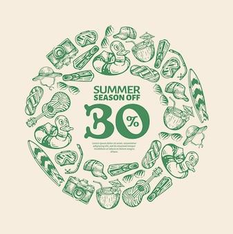 Illustration d'éléments d'équipement de plage d'été dans un cadre circulaire