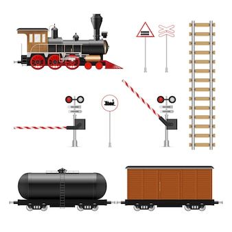 Illustration d'éléments ferroviaires isolé sur fond blanc