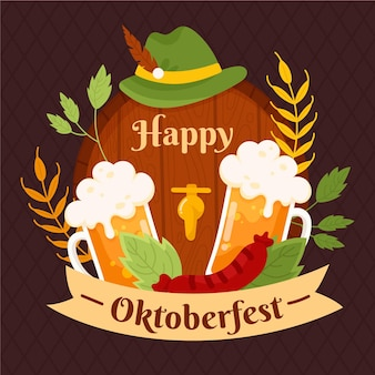 Illustration d'éléments oktoberfest dessinés à la main