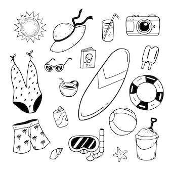 Illustration des éléments de la plage d'été