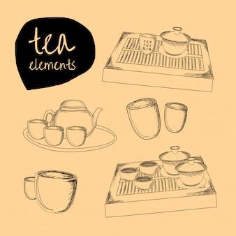 Illustration des éléments de thé