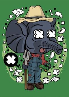 Illustration d'éléphant agriculteur