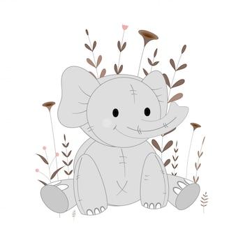 Illustration avec éléphant animaux de dessin animé