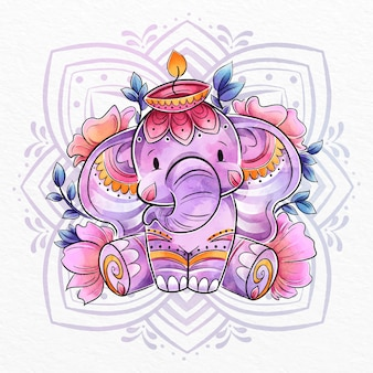 Illustration d'éléphant aquarelle diwali