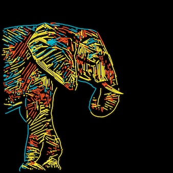 Illustration d'éléphant coloré abstrait