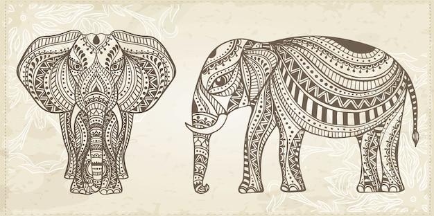 Illustration d'éléphant dessiné à la main ornementale indienne
