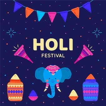 Illustration d'éléphant du festival holi dessiné à la main
