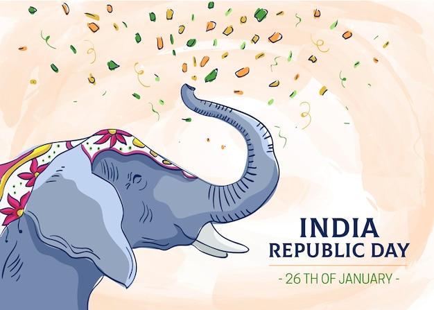 Illustration d'éléphant de jour de république dessiné à la main