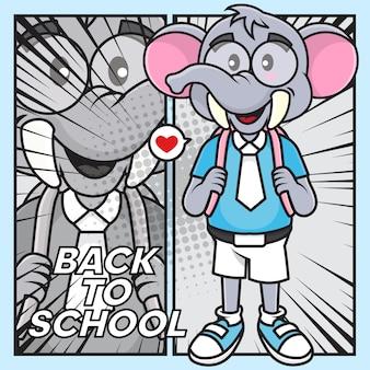 Illustration d'éléphant mignon aller à l'école avec un style bande dessinée
