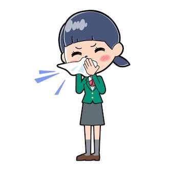 Illustration d'un élève de l'école avec l'uniforme vert