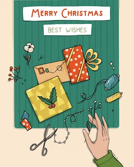 Illustration de l'emballage des cadeaux et des cartes de noël