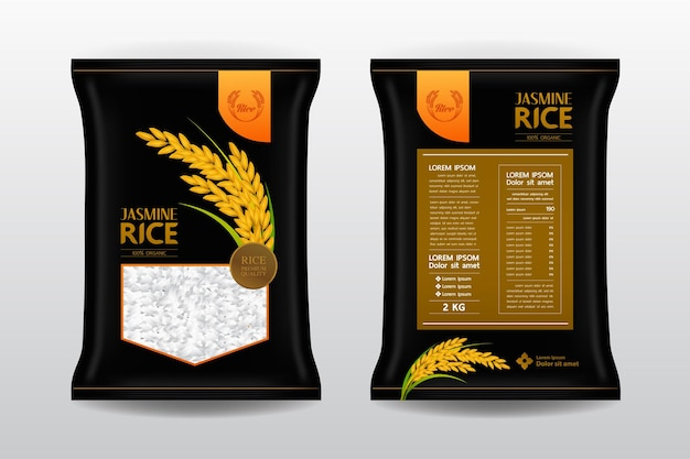 Illustration de l'emballage d'huile de son de riz premium
