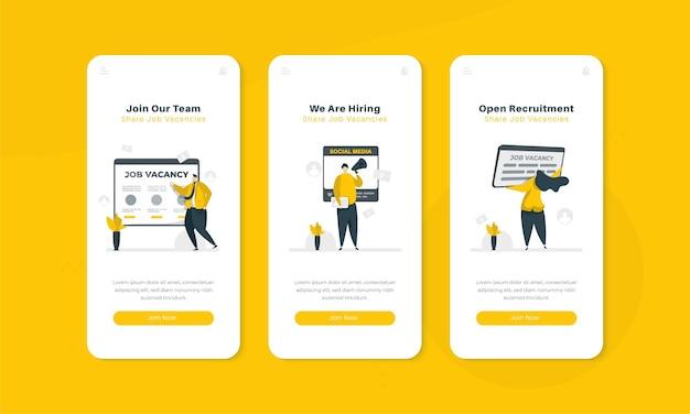 Illustration d'embauche ou de recrutement ouvert sur le concept d'interface d'écran embarqué