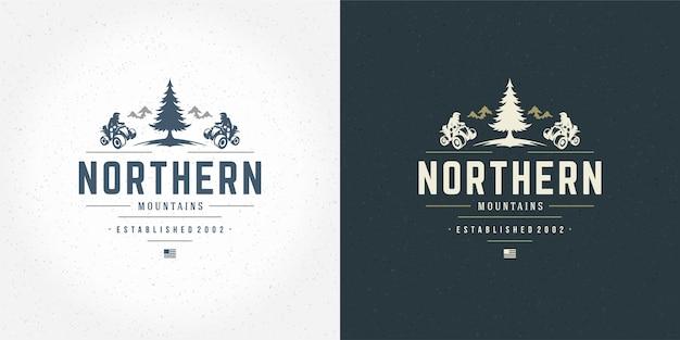Illustration de l'emblème du logo atv hors route des montagnes ensemble d'expédition