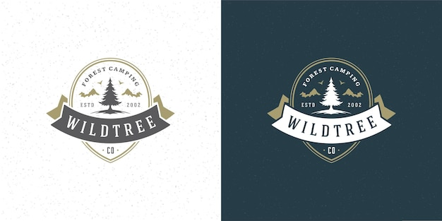 Illustration de l & # 39; emblème du logo silhouette pin arbre