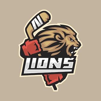 Illustration, emblème de hockey lion féroce avec bâton, format eps 10
