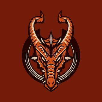 Illustration d'emblème de vecteur dragon isolé