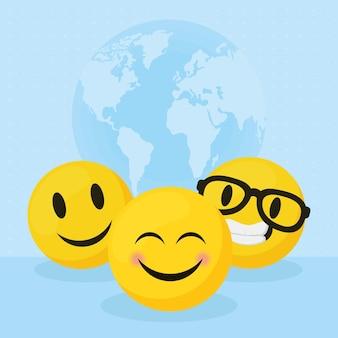 Illustration d'émoticônes souriantes