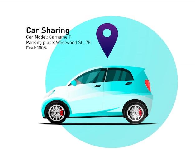 Illustration d'emplacement de partage de voiture