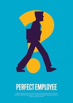 Illustration de l'employé parfait avec un modèle de texte avec la silhouette de l'homme