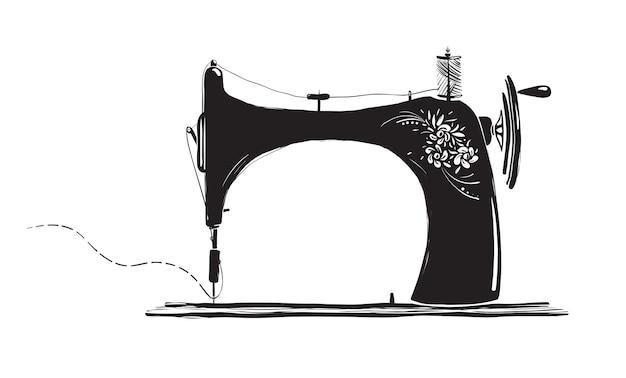 Illustration d'encre de machine à coudre vintage artisanat à la main et conception de vecteur de passe-temps tatouage ou vecteur de logo