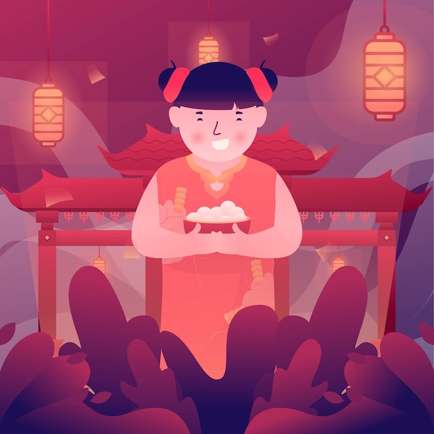 Illustration de l'enfant célébrant la fête de cap go meh après le nouvel an chinois