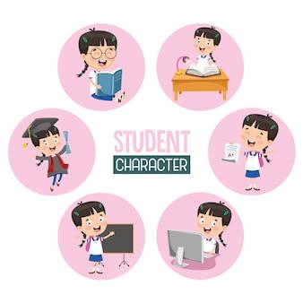 Illustration d'enfant étudiant