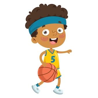 Illustration de l'enfant jouant au basketball