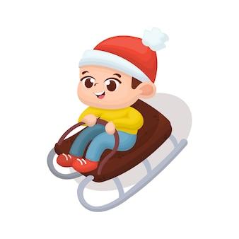 Illustration d'un enfant mignon jouant à la planche à neige avec un style de bande dessinée
