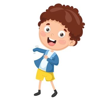 Illustration de l'enfant portant des vêtements