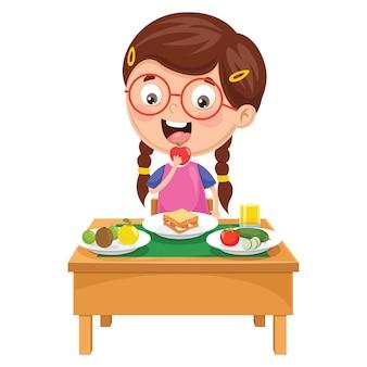 Illustration de l'enfant prenant son petit déjeuner