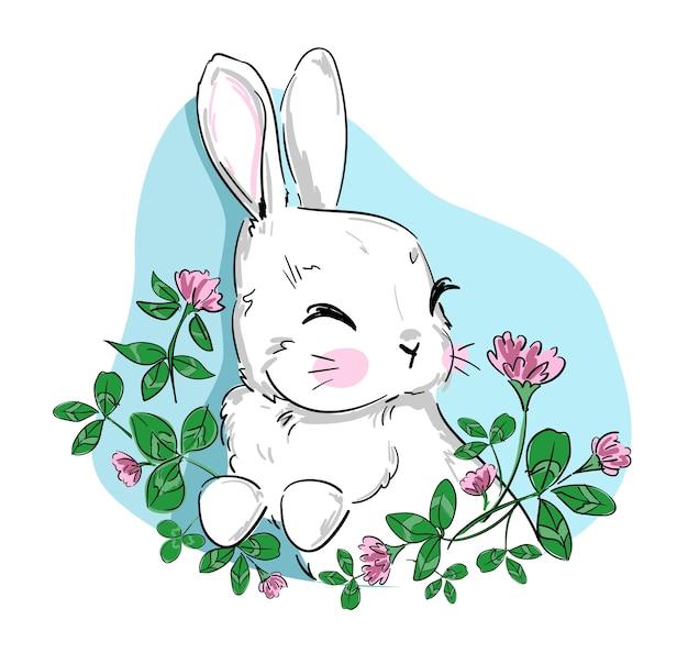 Illustration enfantine de lapin mignon dessiné à la main et de fleurs