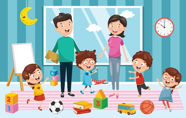 Illustration des enfants d'âge préscolaire
