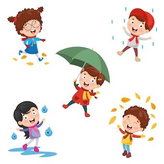 Illustration des enfants d'automne