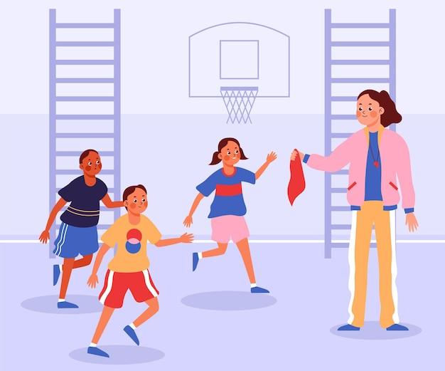 Illustration d'enfants en classe d'éducation physique