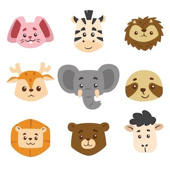 Illustration d'enfants de collection de tête d'animal mignon