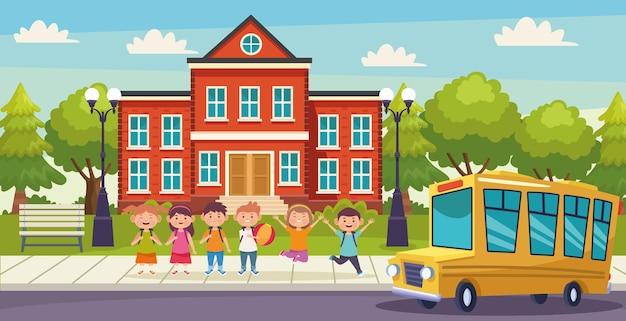 Illustration des enfants et de l & # 39; école