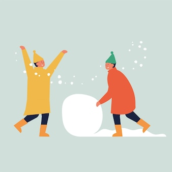 Illustration les enfants font un bonhomme de neige.