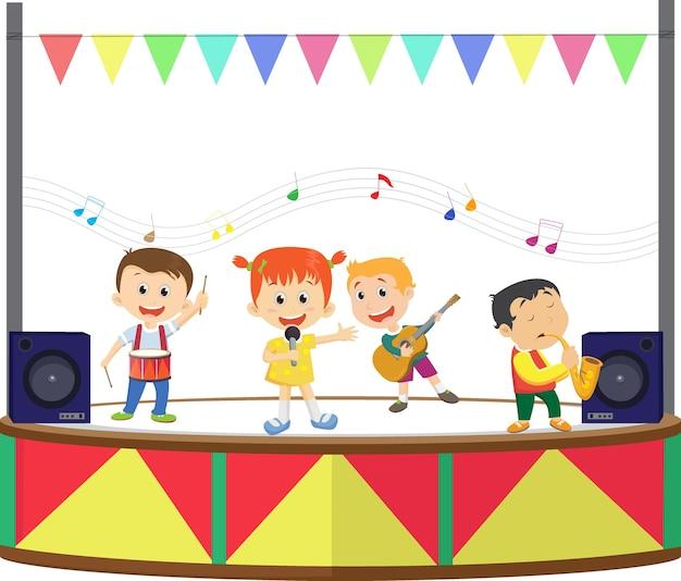 Illustration d'un enfants heureux jouant de la musique sur la scène