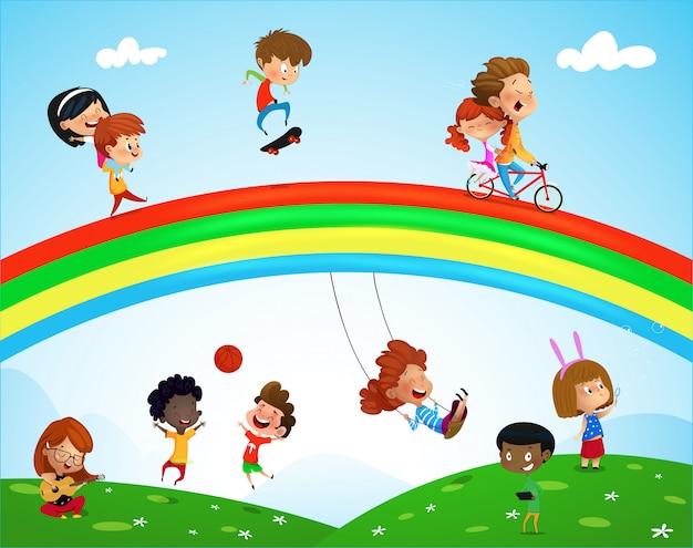 Illustration d'enfants jouant d'ethnies différentes