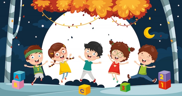 Illustration d'enfants jouant à l'extérieur