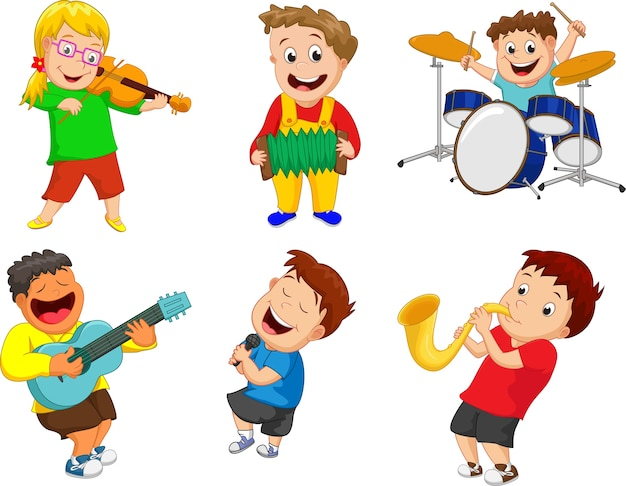 Illustration d'enfants jouant de l'instrument de musique