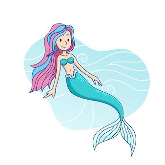 Illustration d'enfants mignons de dessin animé de sirène