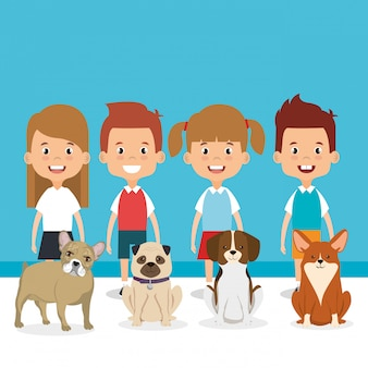 Illustration d'enfants avec des personnages d'animaux domestiques