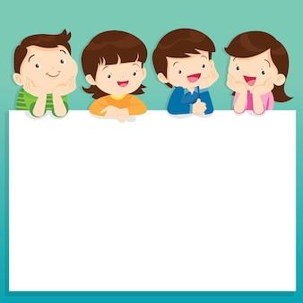Illustration d'enfants souriant près d'un espace vide