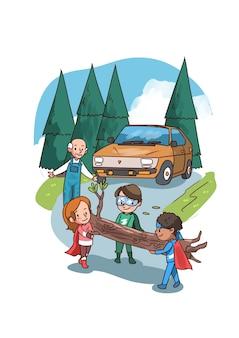 Illustration des enfants de super héros dégageant un barrage routier