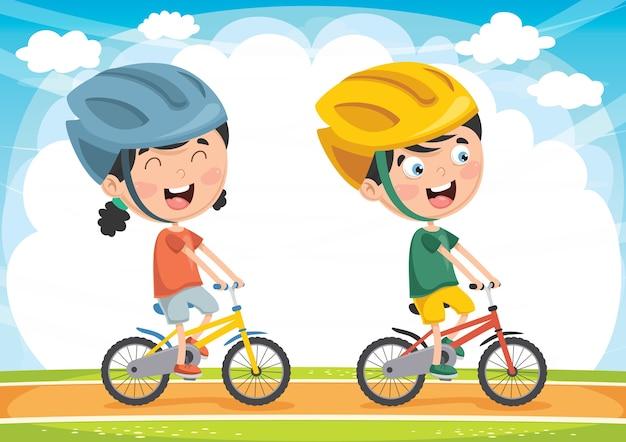 Illustration des enfants à vélo