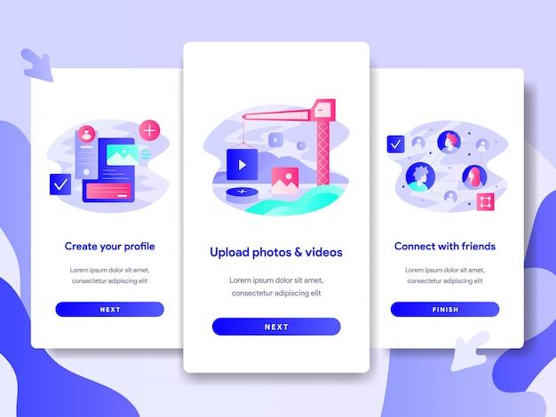 Illustration de l'enregistrement des médias sociaux pour une application mobile