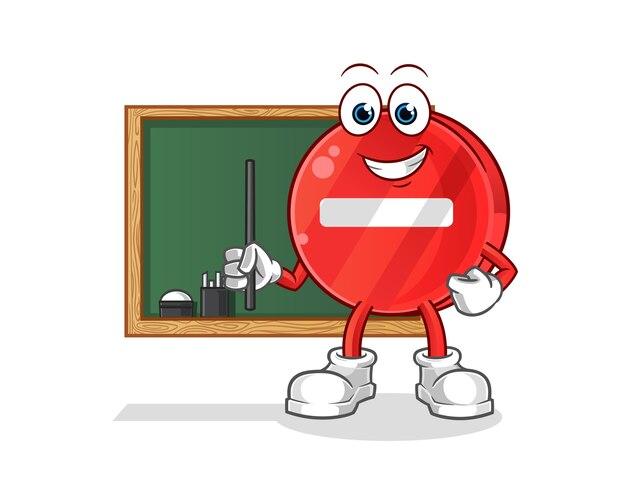 Illustration de l'enseignant de panneau d'arrêt
