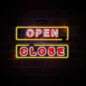 Illustration d & # 39; enseigne au néon ouverte et fermée